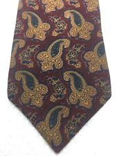 LIBERTY LONDON MENS TIE BURGUNDY WITH GOLD GREEN BLUE PAISLEY 3.75 X 56 WOOL
