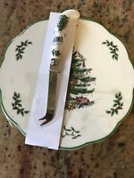 Spode Christmas Tree Cheese Set Plate & Matching Knife Never Used w Tags Holiday
