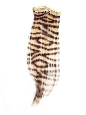 Clip in Human Hair Extensions Zebra Print Blonde and Natural Black Print