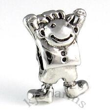 Happy Boy Kid Silver European Spacer Charm Bead For Bracelet EB54