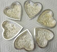 """Antique Stieff Sterling Silver Repousse"""" Rose Heart Pin Candy Nut Dish Set of 6"""