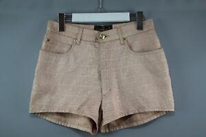 FENDI ZUCCA FF MONOGRAM Light Pink/Gold Vintag Pantaloni shorts  size 42 /XS