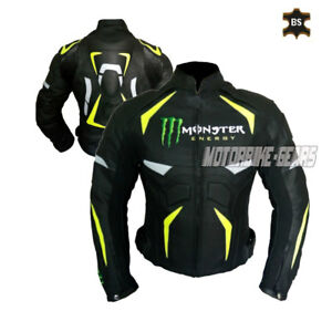 Black monster leather jacket riding jacket for cruise and racing motorbike gear