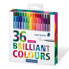Staedtler Color Pen Set Set of 36 Assorted Colors (Triplus Fineliner Pens)