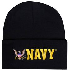 Embroidered USN Navy Military Eagle Logo Beanie Stocking Watch Cap Hat Licensed