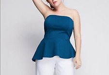 4adf09b0f LANE BRYANT TEAL BLUE STRAPLESS STRETCHY PEPLUM TUBE TOP BUSTIER PLUS Sz  22 24