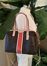 COACH Bag Signature Brown Orange RED Leather Nancy Satchel F30662 $358 NEW w/tag
