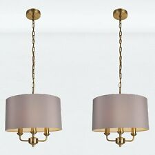 Pair of 3 Light Antique Brass Pendant Chandelier with Grey Fabric Shade