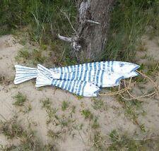 Fish, blue & white stripe, set of 3, hanging, decorative, coastal, beach decor