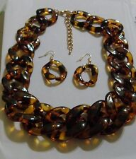 BIG CHUNKY LINKS FAUX TORTOISE TURTLE SHELL AMBER COLORS NECKLACE EARRINGS SET