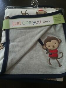 Just One You Carters NWT Monkeys Baseball Baby Blanket Receiving Swaddle Cotton