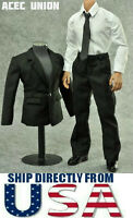 "1/6 Scale Men Suit Full Set BLACK For 12"" Hot Toys Male Figure U.S.A. SELLER"
