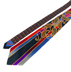 WILD Vitaliano Pancaldi Silk Black/Red/Purple/Blue Paisley Abstract Tie Jacquard
