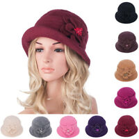 Womens GATSBY 1920s Roll Brim Winter Flower Wool Beret Beanie Bucket Hat A299