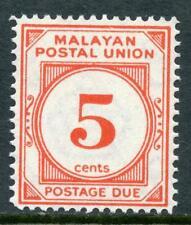 "Unión Postal ""Malaya"" 1951 franqueo debido 5 centavos bermellón Perf 14 SGD18 Estampillada sin montar"