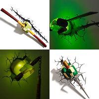 3D LED Wall Deco Night Light Teenage Mutant Ninja Turtles Weapon Gift Toy Light