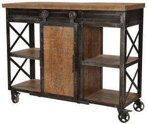 "48"" Adelchi Sideboard Cabinet Metal Wood Four Wheels Black Brown Two Tone"