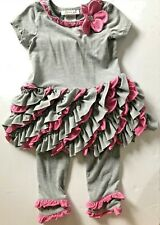 BONNIE JEAN Two Piece Gray Pink Flower Embelished Pants Outfit Size 2T