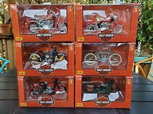 Lot of 6 1999 Maisto 1:18 Harley-Davidson 1998 Series 5 Models Complete Set MIB
