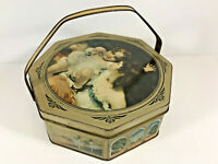Vintage 50's Sunshine Biscuits Tin Octagonal Classical Painting Basket Handle