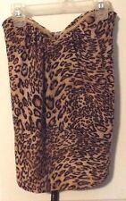 Zinga Ladies Cheetah Print Sleeveless Top Size M With Black Belt Liner Bra EUC