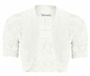 New Girls Kids Short Sleeve Crochet Knitted Bolero Shrug Open Cardigan Crop Top