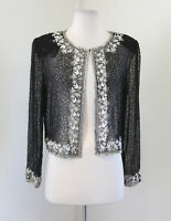 Vtg Stenay Black Sheer Silk Beaded Sequin Evening Jacket Size 6 White Silver