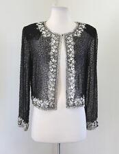 Vtg Stenay Black Sheer Silk Beaded Sequin Evening Jacket Size 6 White Silver