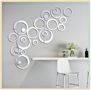 UK 3d DIY Circle Art Mirror Effect Wall Sticker Mural Home Room Acrylic Decor