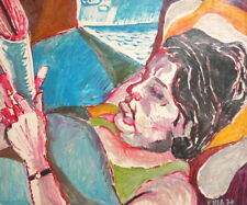 1974 Expressionist Oil Painting Woman Reading Newspaper signed