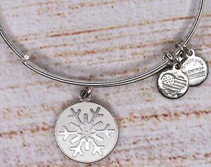 Alex and Ani White Snowflake Charm Bangle Silver Bracelet 2015