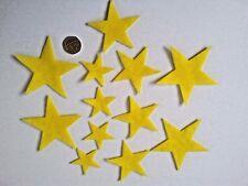 Felt STAR Shapes x 12 YELLOW Die Cut Mixed 4 - 8 cm Embellishments Cardmaking