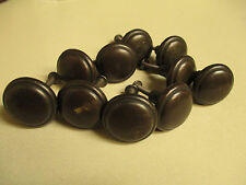 Vintage Lot of 10 Solid Brass Round Button Drawer Dresser Cabinet Pull Knobs