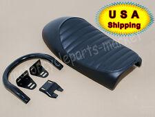 Black Hump Seat Cafe Racer Vintage w/ Upswept Seat Frame Hoop Loop End 230mm USA
