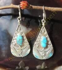 Ohrring Türkis Kupfertürkis blau Tropfen Antik Stil Sterling Silber 925