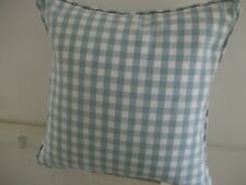 """Laura Ashley Gingham Duck Egg Cushion Cover 16"""" With Piped Edge. Reversible"""