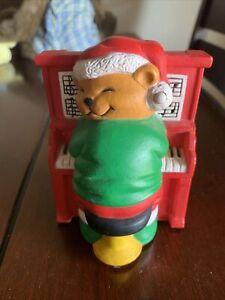 "Avon 1992 ""PLAY IT AGAIN MR KEYS"" Musical Christmas Bear Piano Plug in Ornament"