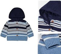 BNWT Mothercare Baby Boys Hooded Blue Striped Knitted Lined Cardigan Jacket Top
