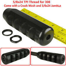 ".308 308 Super Heavy Duty 5"" Competition Muzzle Brake,5/8x24 TPI,Washer/Jam Nut"