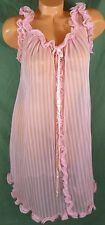 Vtg Movie Star Small Sheer Pink Striped 1950s Chiffon Night Gown Nightie Chemise