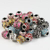 5pcs Czech Crystal Tibetan Silver Enamel Round Charm Beads for European Bracelet