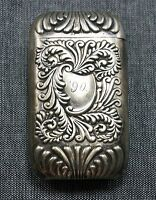 Sterling Silver MATCH SAFE / VESTA CASE Dated 1890 Monogrammed
