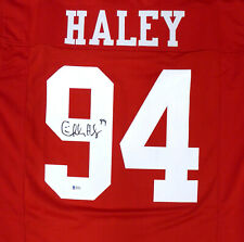 49ERS CHARLES HALEY AUTHENTIC AUTOGRAPHED SIGNED RED JERSEY BECKETT BAS 159189
