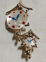 2 Brooch Brooches VTG Estate Pins Clocks MOP Mother of Pearl Mother Daughter 50s