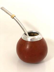Mate Tee Becher Calabaza für Yerba mit einem Strohhalm Bombilla aus Metall Set