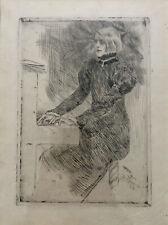 ROPS Félicien Eau-Forte Originale Une Pianniste Shaker Symbolisme XIXème