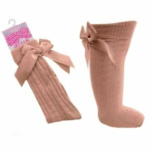 LITTLE GIRLS ROSE GOLD KNEE HIGH SOCKS WITH SATIN BOW 12-24 MONTHS