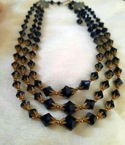Art Deco Black Crystal Necklace 3 Strand Bicone Beads Czech Aurora Borealis