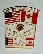 Vtg Lions Club Multiple District 19 British Columbia Washington Nrthn Idaho Pin