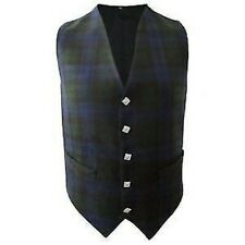 New Mens Scottish Waistcoat In Black Watch Tartan With Thistle Buttons
